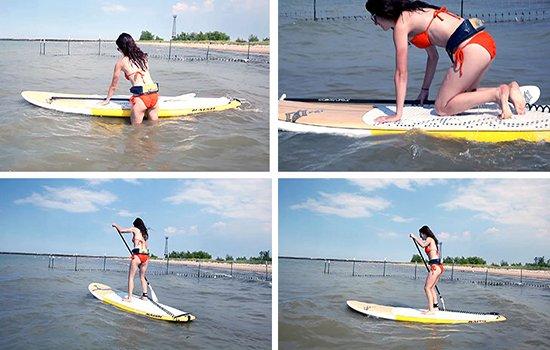 Ponerse de pie en un paddle surf sup