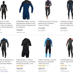 foto con distintos tipos de trajes de surf
